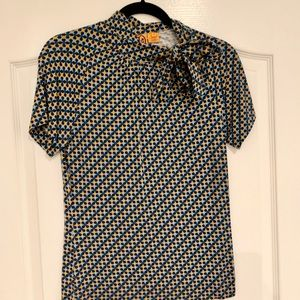 Tory Burch tie neck top. Blue and yellow. Size M